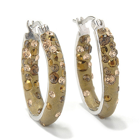 131-585 - Adaire™ 1'' Sterling Silver Hoop Earrings Made w/ Swarovski® Elements