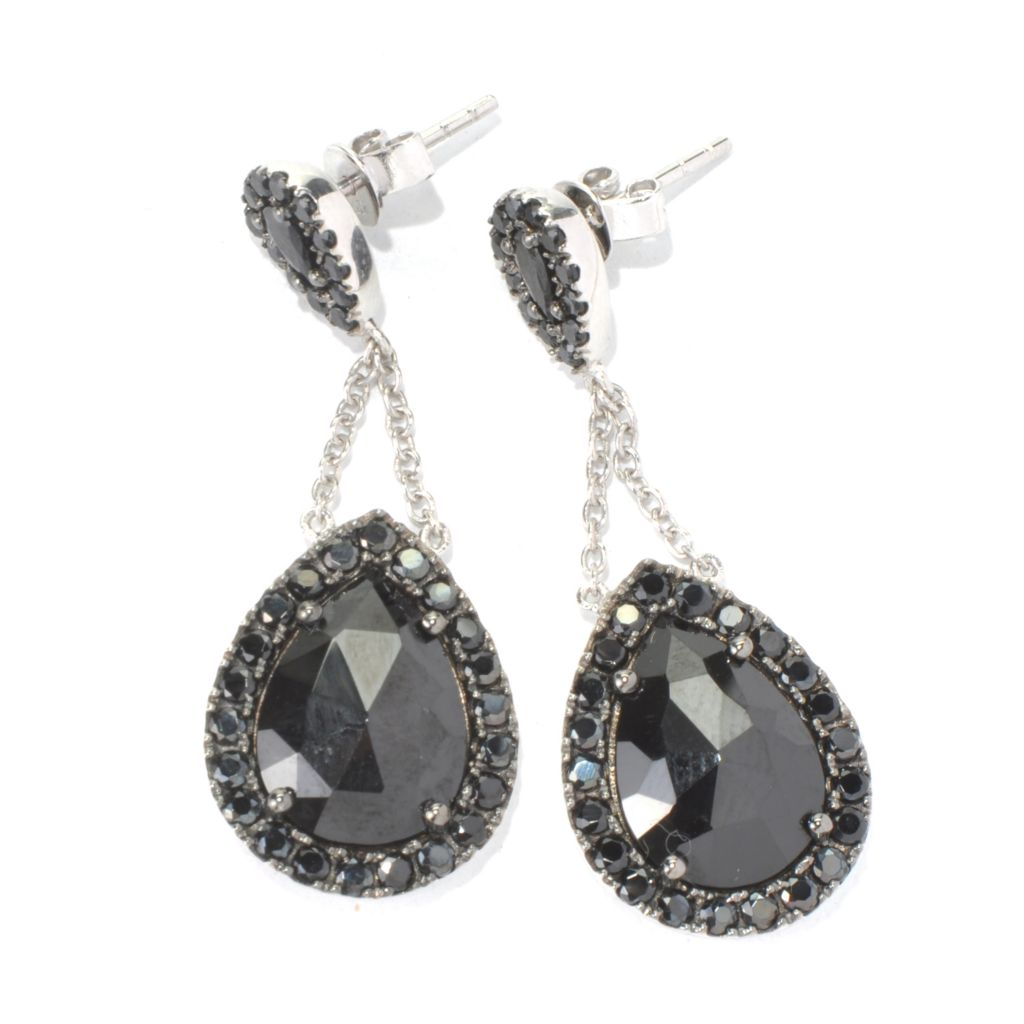 "131-594 - NYC II 1.5"" 14 x 10mm Black Spinel Teardrop Earrings"