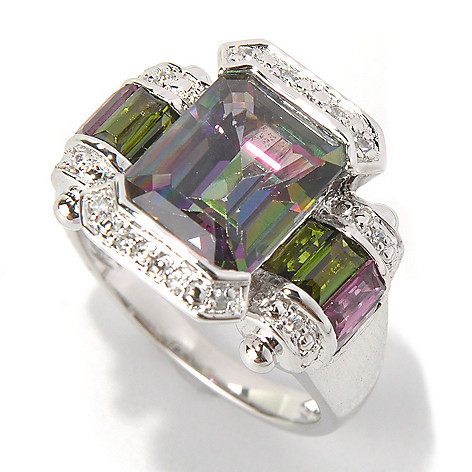 131-595 - NYC II 5.35ctw Emerald Cut Mystic Topaz & Multi Gem Ring