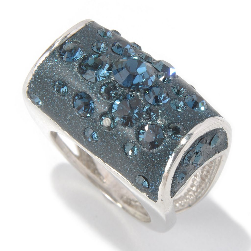 131-596 - Adaire™ Sterling Silver Barrel Ring Made w/ Swarovski® Elements