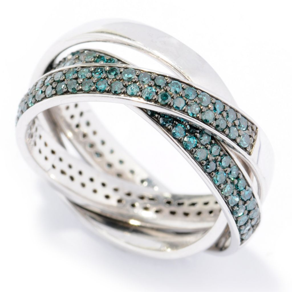 131-599 - Diamond Treasures Set of Three Sterling Silver 1.45ctw Diamond Rolling Rings