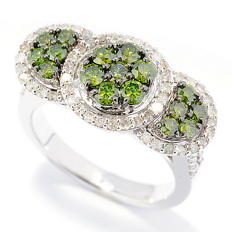 131-604 - Diamond Treasures Sterling Silver 1.50ctw Green & White Diamond Three-Station Ring
