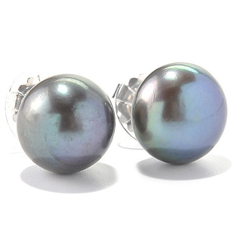 131-610 - Sterling Silver 13-14mm Button Shaped Freshwater Cultured Pearl Stud Earrings
