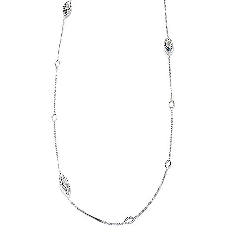131-616 - Diamond Treasures Sterling Silver 36'' 1.10ctw Diamond Marquise Station Necklace