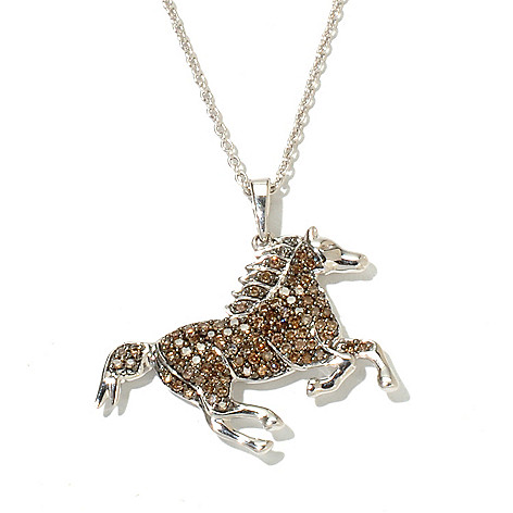 131-620 - Diamond Treasures Sterling Silver 0.45ctw Champagne Diamond Horse Pendant w/ Chain