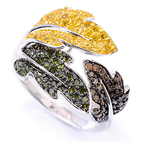131-623 - Diamond Treasures Sterling Silver 0.70ctw Multi Color Diamond Three-Leaf Ring
