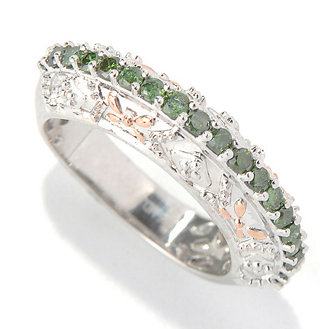131-624 - Diamond Treasures Sterling Silver 0.50ctw Fancy Color Diamond Elevated Ring