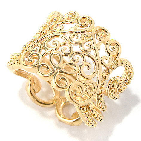 131-625 - Jaipur Bazaar Gold Embraced™  Ornate Design Wide Band Ring
