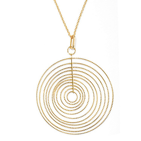 131-633 - Scintilloro™ Gold Embraced™ Diamond Cut Multi Disk Pendant w/ 18'' Chain