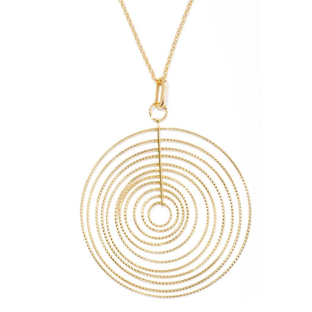 "131-633 - Scintilloro™ Gold Embraced™ Diamond Cut Multi Disk Pendant w/ 18"" Chain"