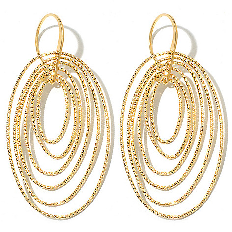 131-634 - Scintilloro™ Gold Embraced™ 2.25'' Diamond Cut Multi Disk Drop Earrings