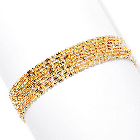 131-636 - Scintilloro™ Gold Embraced™ 7.5'' Diamond Cut Eight-Strand Dash & Dot Bracelet