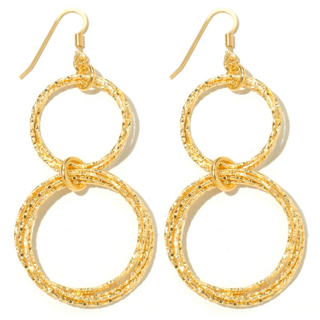 "131-637 - Scintilloro™ Gold Embraced™ 2.75"" Diamond Cut Circle Double Drop Earrings"