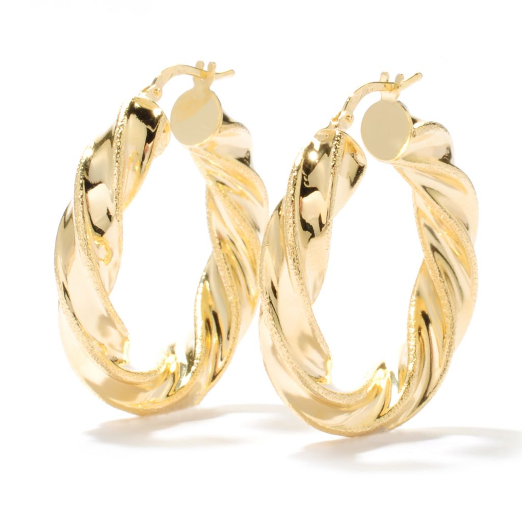"131-638 - Scintilloro™ Gold Embraced™ 1.25"" Twisted Diamond Cut Hoop Earrings"