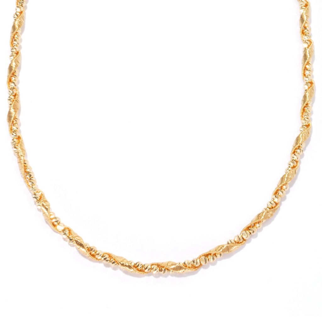 131-639 - Scintilloro™ Gold Embraced™ Diamond Cut & Textured Beaded Twist Necklace