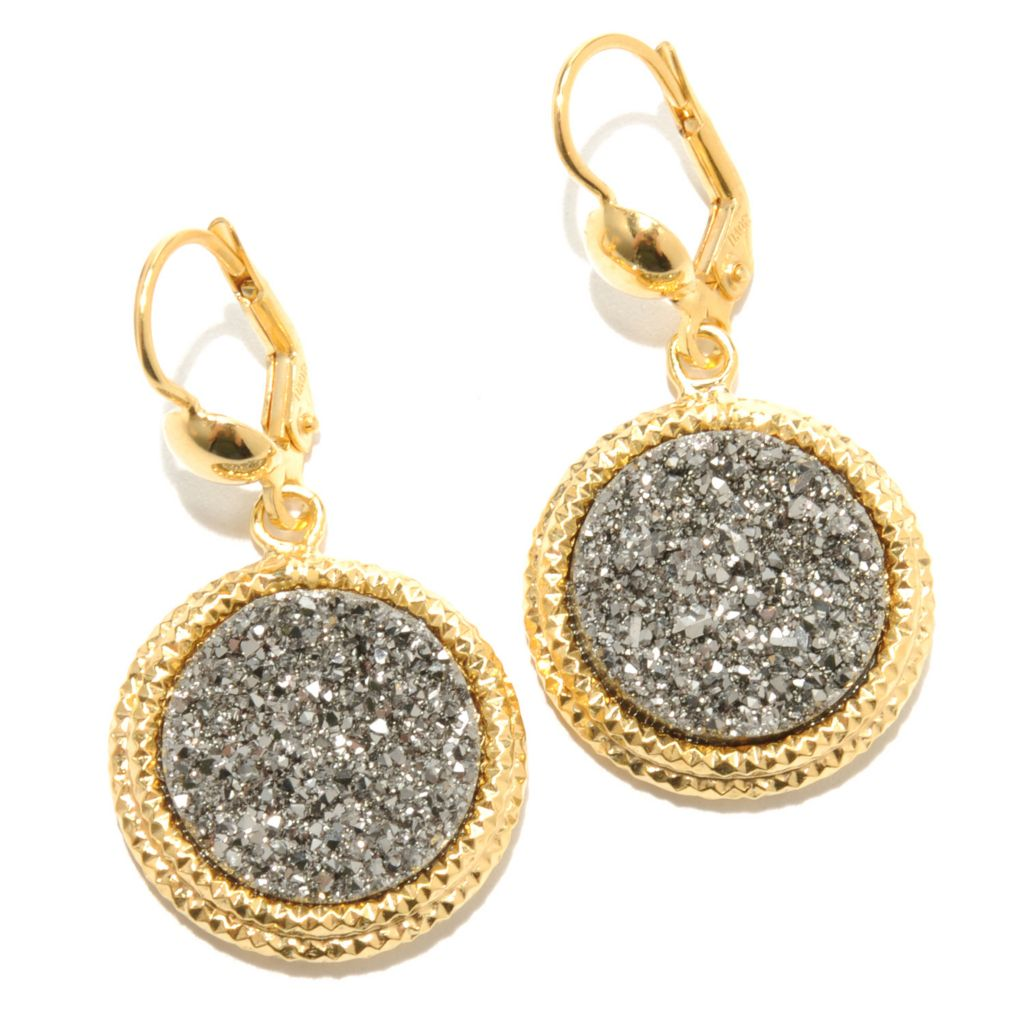 "131-640 - Scintilloro™ Gold Embraced™ 1.5"" 15mm Drusy Drop Earrings"
