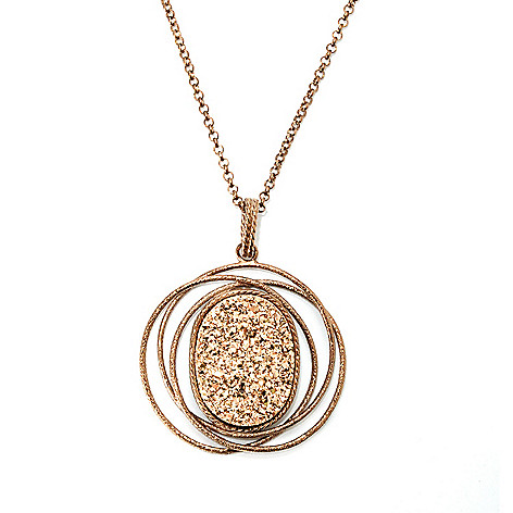 131-641 - Scintilloro™ Gold Embraced™ 24 x 17.5mm Drusy Multi Circle Pendant w/ Chain