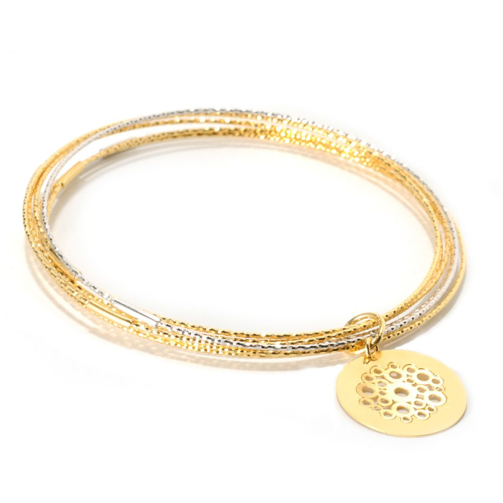 "131-645 - Scintilloro™ Set of Seven Gold Embraced™ 8"" Diamond Cut Bangle Bracelets w/ Charm"