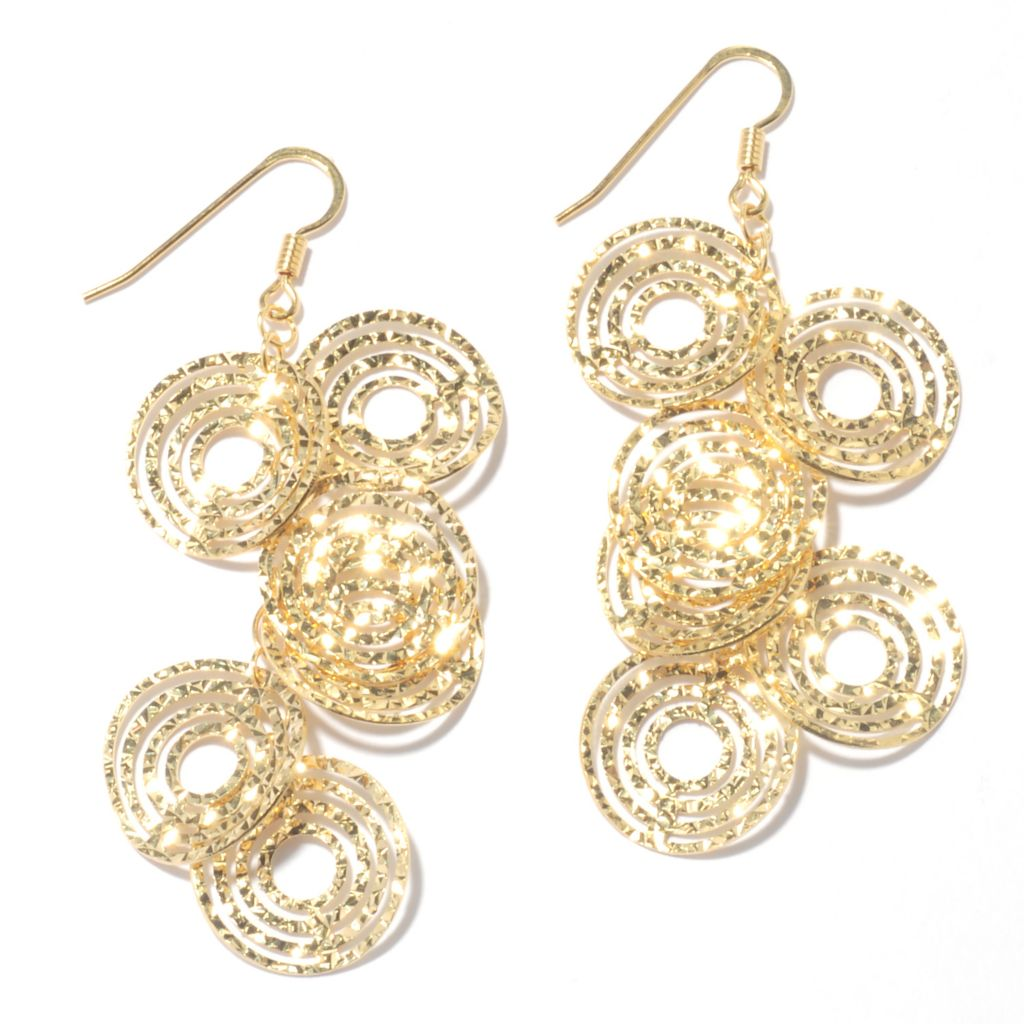 "131-646 - Scintilloro™ Gold Embraced™ 2.5"" Diamond Cut Multi Disk Drop Earrings"