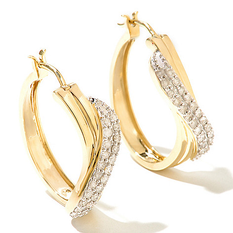 131-649 - Diamond Treasures 14K Gold 1.25'' 1.00ctw Diamond Crossover Hoop Earrings