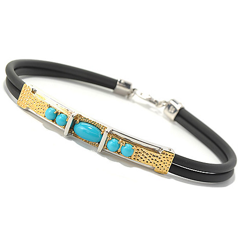 131-653 - Men's en Vogue II Sleeping Beauty Turquoise Two-Strand Rubber Cord Bracelet