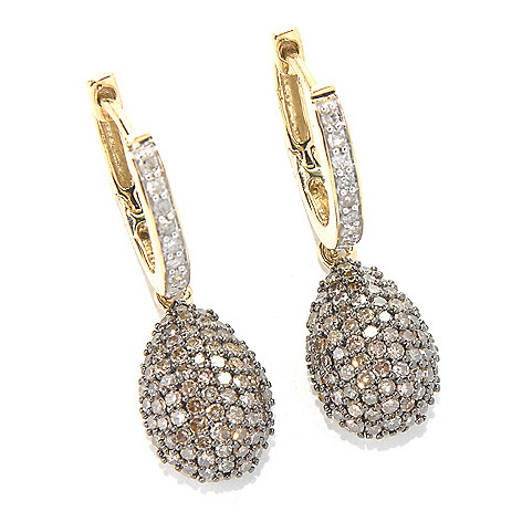 131-677 - 14K Gold 0.82ctw Champagne & White Argyle Diamond Teardrop Earrings