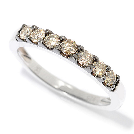 131-679 - Diamond Treasures Sterling Silver 0.50ctw Round Argyle Diamond Band Ring