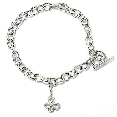 131-687 - Diamond Treasures Sterling Silver 0.05ctw Diamond Butterfly Charm Toggle Anklet