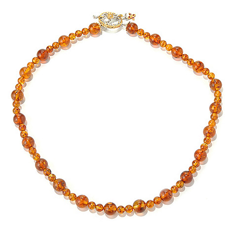 131-691 - Gems en Vogue II 20'' Baltic Amber Bead & Orange Sapphire Toggle Necklace