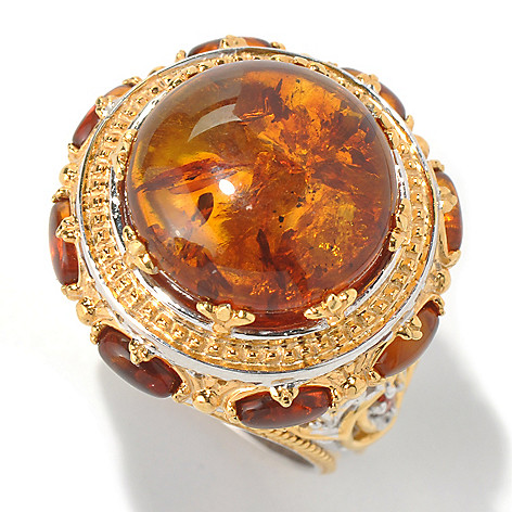 131-692 - Gems en Vogue II 15mm Baltic Amber Cabochon & Orange Sapphire Polished Ring