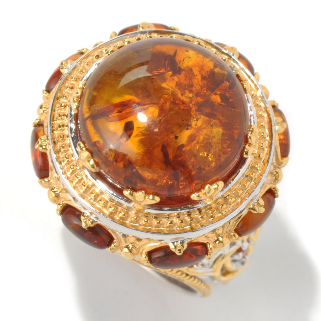 131-692 - Gems en Vogue 15mm Baltic Amber Cabochon & Orange Sapphire Polished Ring