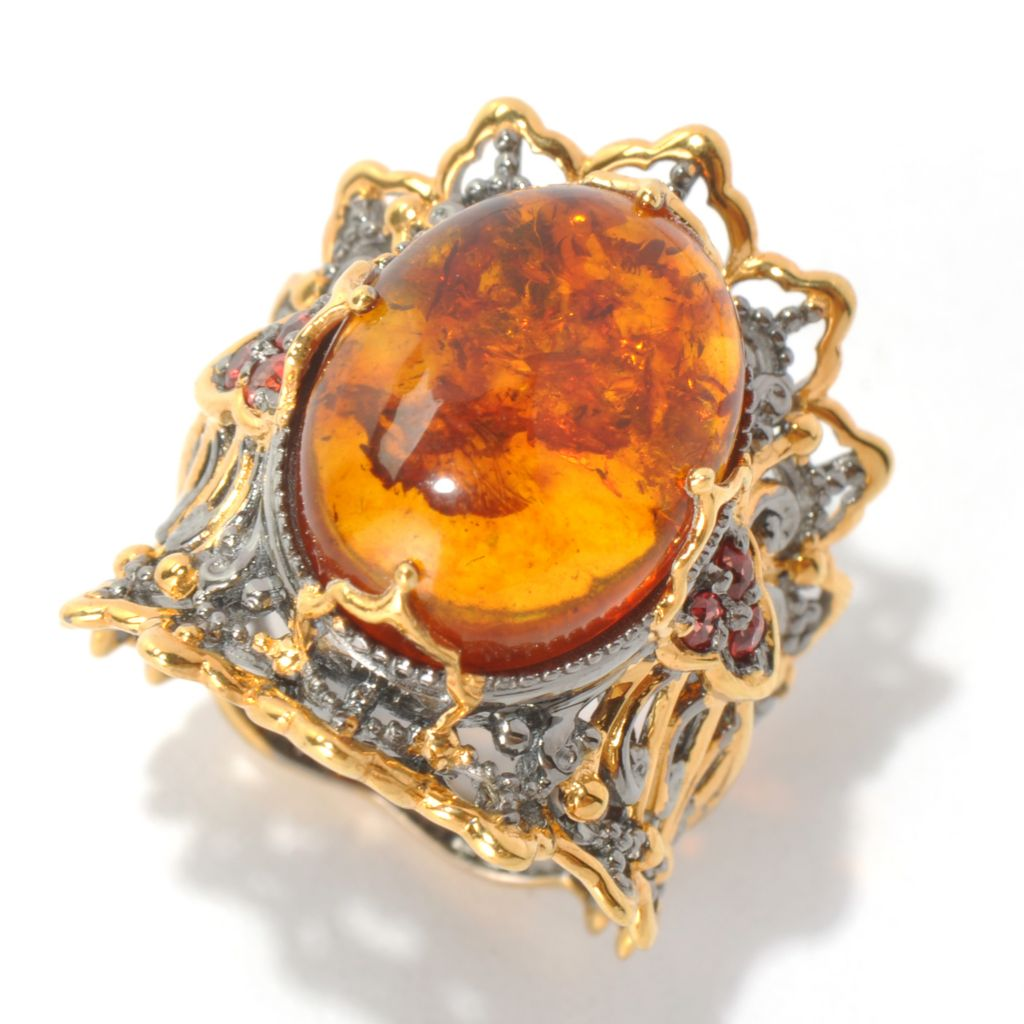 131-693 - Gems en Vogue II 16 x 12mm Baltic Amber & Orange Sapphire Wide Band Ring