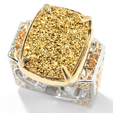 131-695 - Gems en Vogue II 18 x 13mm Golden Drusy & Yellow Sapphire Square Shank Ring