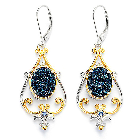 131-696 - Gems en Vogue 2'' 11 x 9mm Oval Drusy & Sapphire Drop Earrings