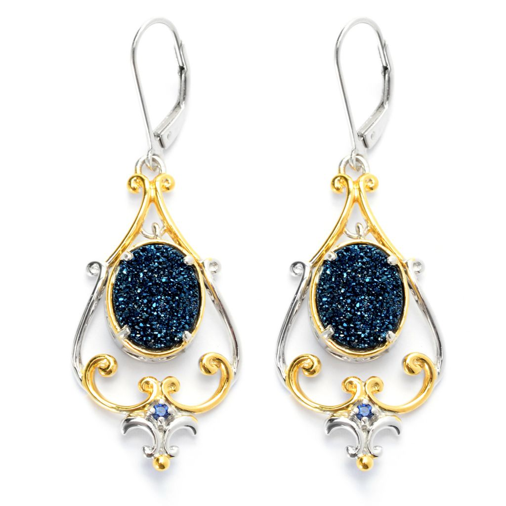 "131-696 - Gems en Vogue 2"" 11 x 9mm Oval Drusy & Sapphire Drop Earrings"