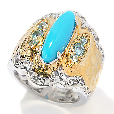 131-699 - Gems en Vogue II 15 x 5mm Sleeping Beauty Turquoise & Blue Zircon Hammered Ring