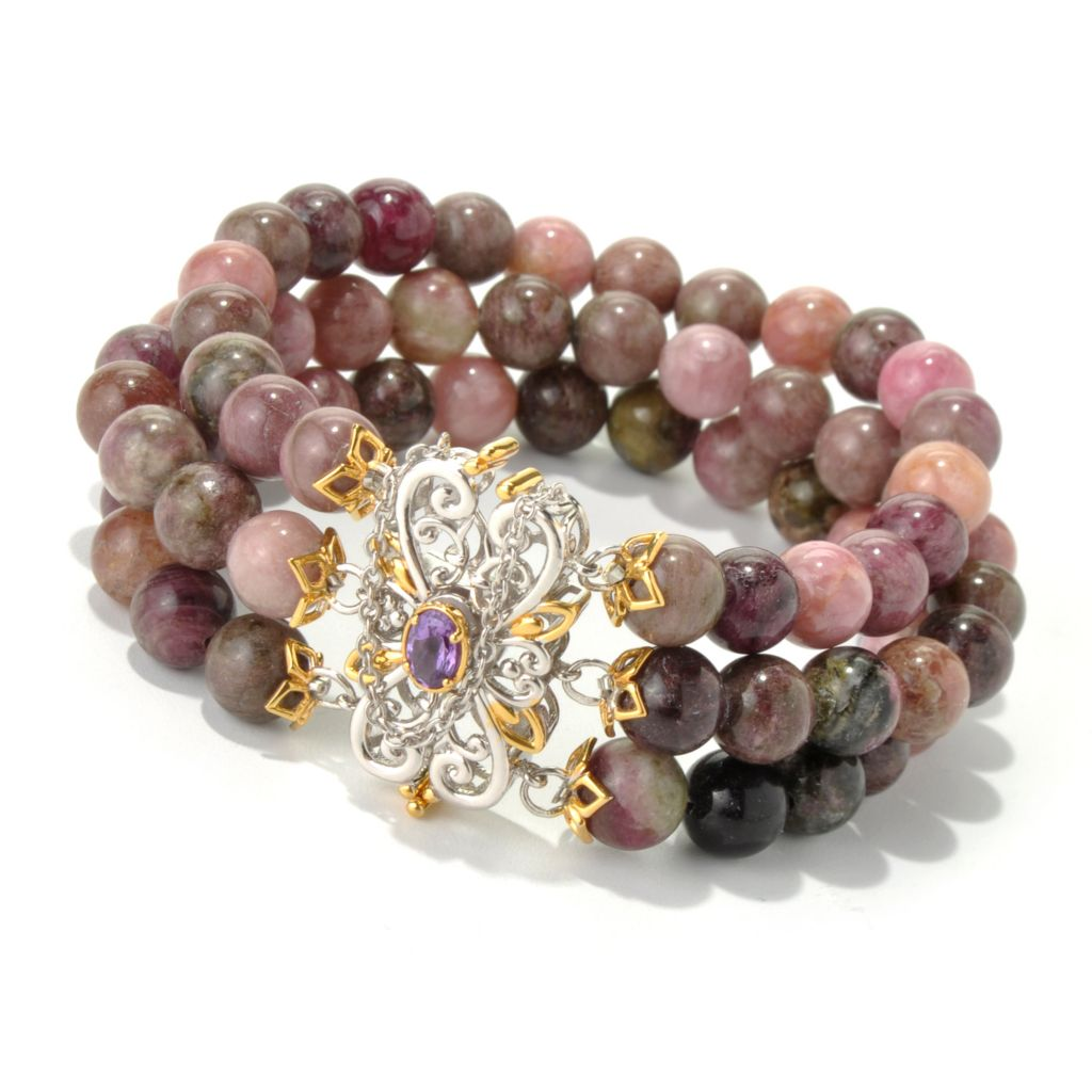 "131-704 - Gems en Vogue II 6.5"" Multi Color Tourmaline & Amethyst Beaded Three-Row Bracelet"