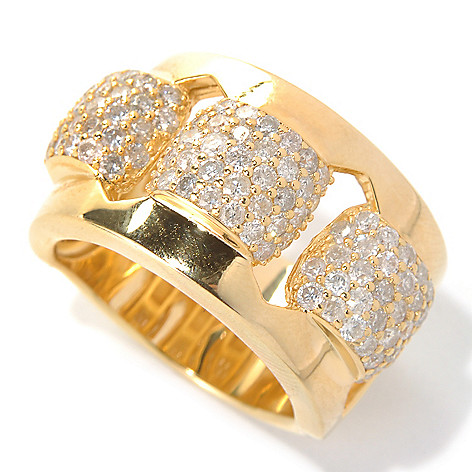 131-706 - Southport Diamonds Sterling Silver & 14K Vermeil 1.66ctw Diamond Three-Station Ring