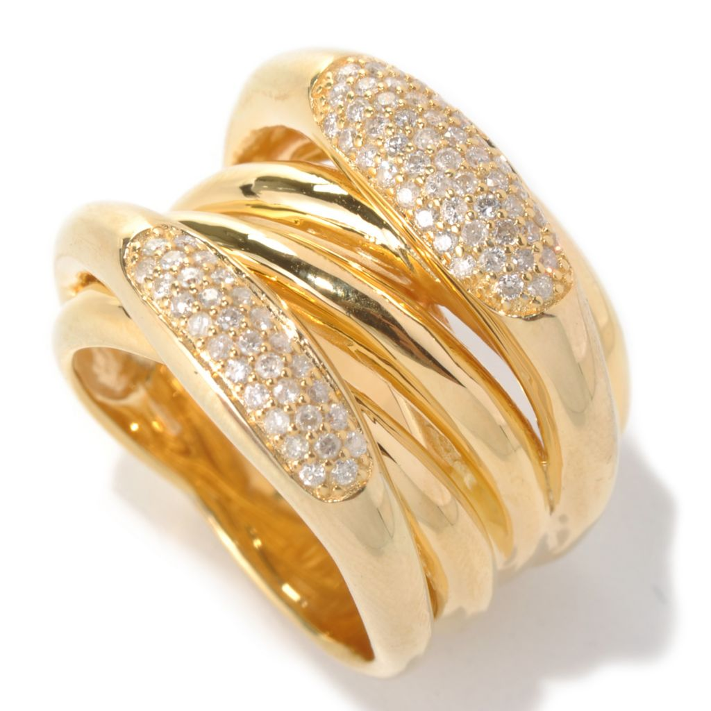 131-708 - Southport Diamonds Sterling Silver & 14K Vermeil 0.55ctw Diamond Multi Row Ring