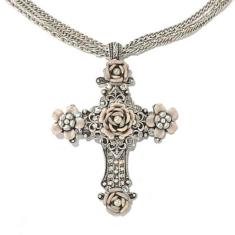 131-711 - Sweet Romance™ 18.75'' Rose Motif Three-Strand Cross Necklace