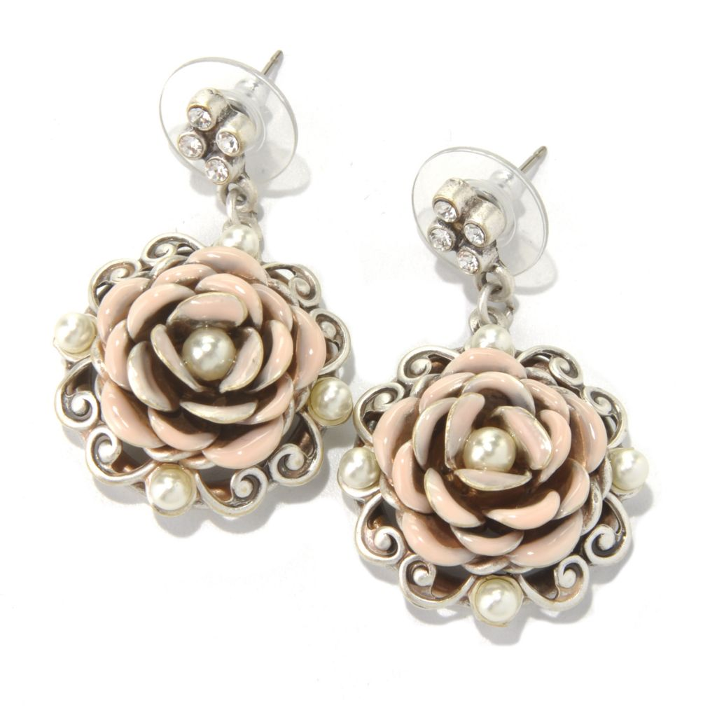 "131-712 - Sweet Romance™ 1.5"" Rose Motif Dangle Earrings"