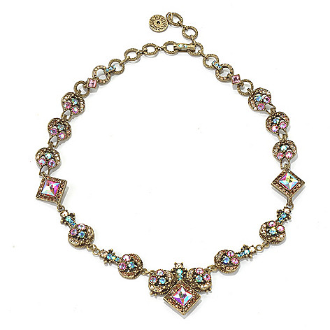 131-714 - Sweet Romance™ 17'' Iridescent Crystal Round & Square Link Necklace