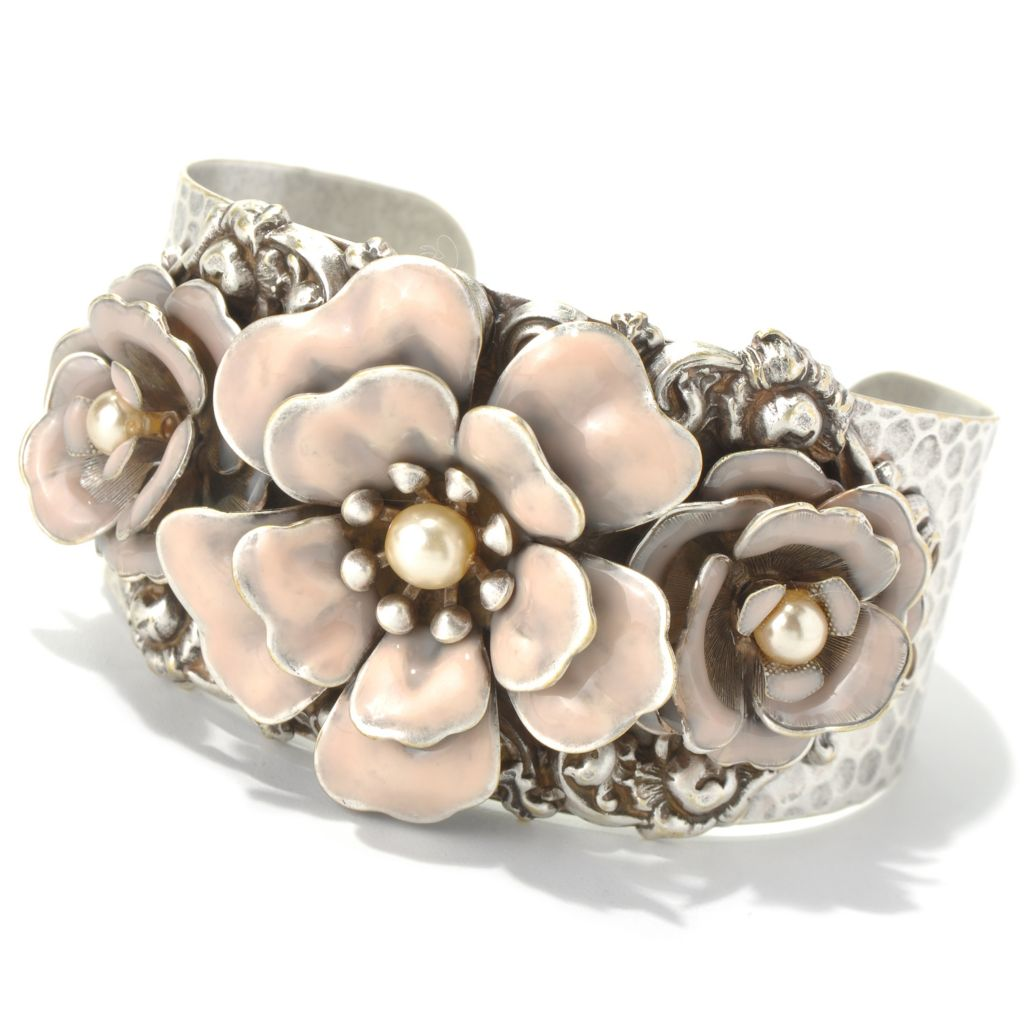 "131-717 - Sweet Romance™ 7"" Adjustable Hammered Rose Motif Cuff Bracelet"