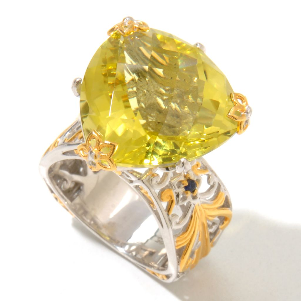 131-720 - Gems en Vogue 14.54ctw Trillion Shaped Ouro Verde & Sapphire Ring