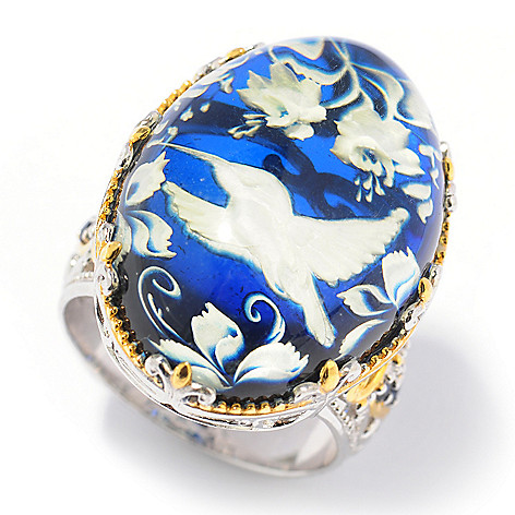 131-721 - Gems en Vogue II 25 x 18mm Carved Amber Hummingbird Intaglio & Sapphire Ring