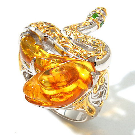131-723 - Gems en Vogue II Carved Amber & Chrome Diopside Snake Ring