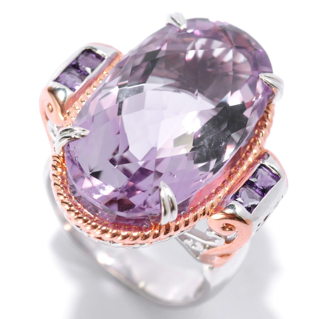 131-726 - Gems en Vogue II 15.37ctw Pink & Purple Amethyst Rope Frame Ring