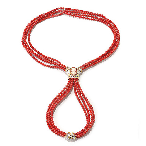 131-730 - Gems en Vogue II 30'' Bamboo Coral, Shell Cameo & Ruby Four-Strand Beaded Necklace