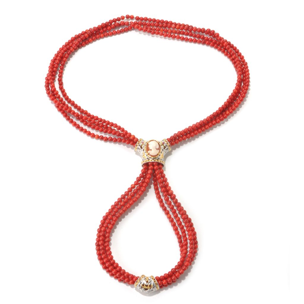 "131-730 - Gems en Vogue 30"" Bamboo Coral, Shell Cameo & Ruby Four-Strand Beaded Necklace"