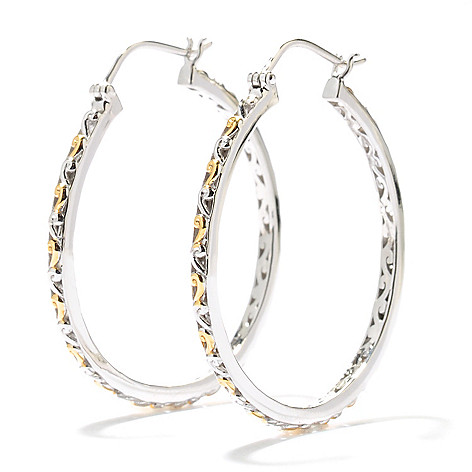 131-733 - Gems en Vogue II 1.5'' Two-tone Textured Hoop Earrings